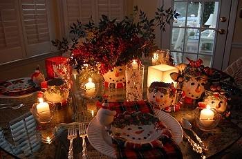 Сервировка рождественского стола
