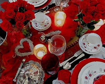 Сервировка День Святого Валентина