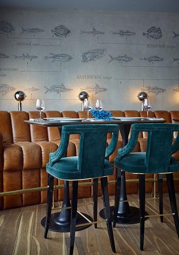 Стены рыбного ресторана